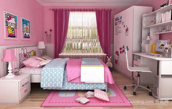 可爱女生卡通时尚儿童房装修效果图大全