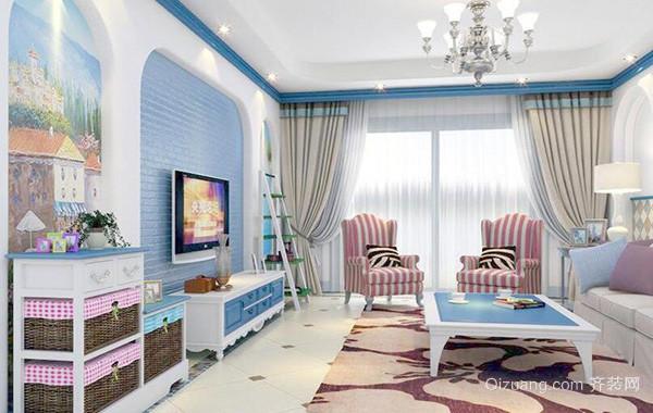 别墅型地中海风格客厅电视背景墙装修效果图
