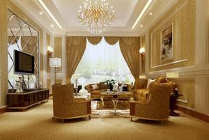 120平米经典欧式客厅电视背景墙装修效果图