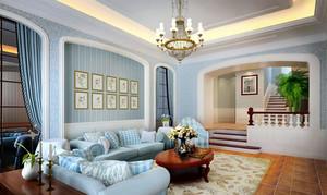 地中海风格自然复式小楼客厅装修效果图