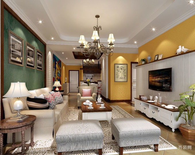 现代美式风格时尚混搭客厅装修效果图