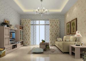 现代田园风格小户型客厅装修效果图
