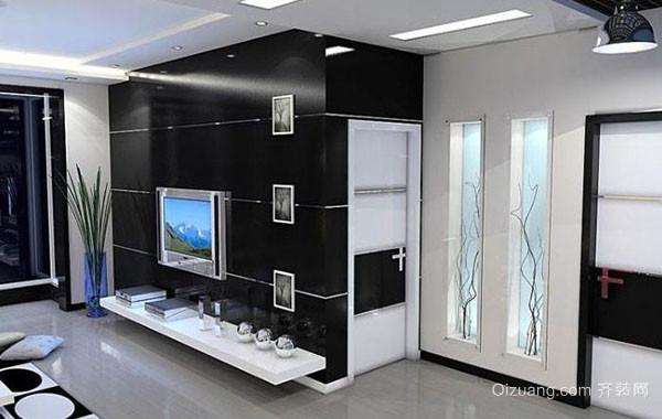 现代黑白时尚混搭客厅装修效果图