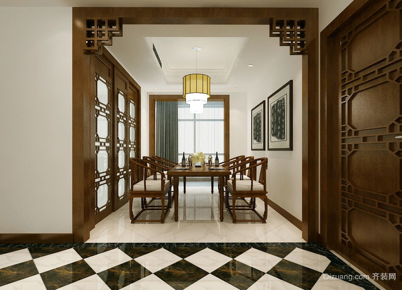 别墅型大户型中式风格餐厅装修效果图