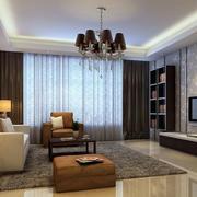 现代中性冷色调客厅装修效果图