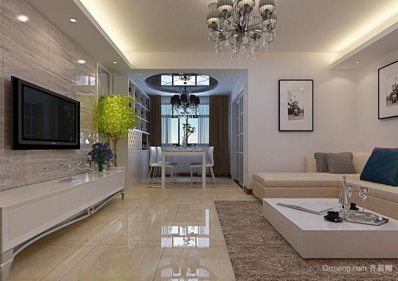 现代简约时尚客厅电视背景墙装修效果图
