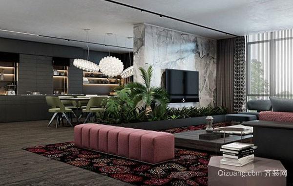 现代简约时尚客厅整体设计效果图