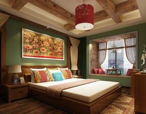 东南亚民族风格卧室飘窗装修效果图