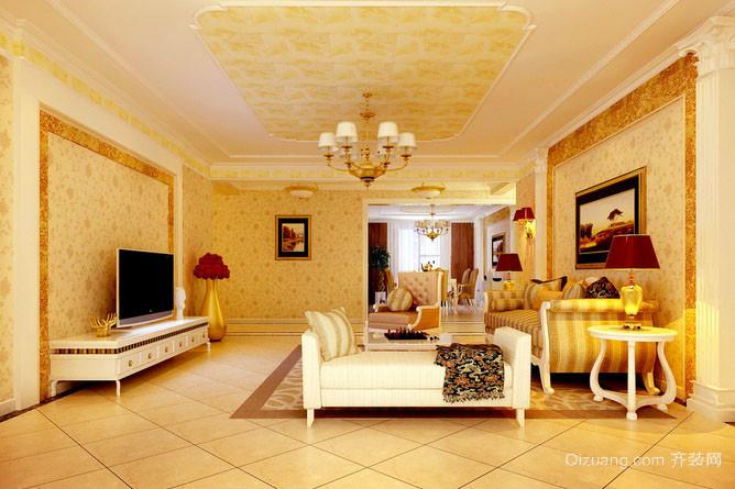 简欧风格精致客厅电视背景墙装修效果图