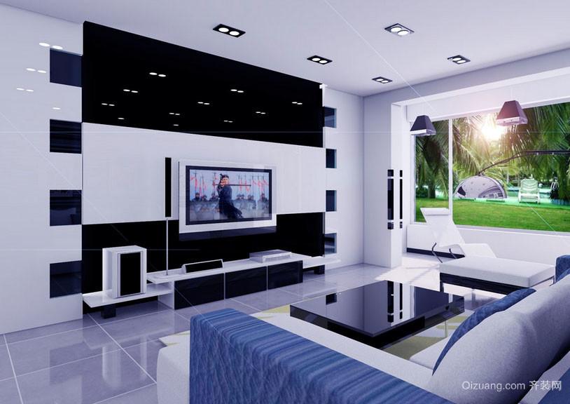 黑白混搭创造出的时尚客厅效果图