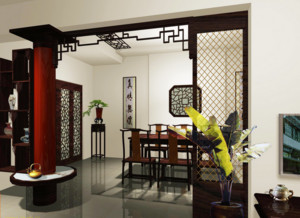中式风格稳重封闭式餐厅装修效果图