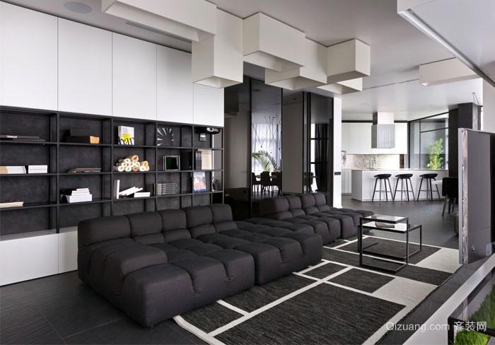 现代低调简单时尚客厅装修效果图