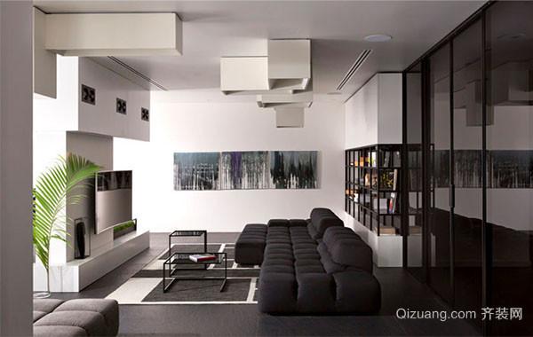 极简主义黑白混搭客厅餐厅玄关装修效果图欣赏
