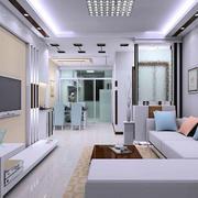 现代简约风格别墅型精致客厅装修效果图
