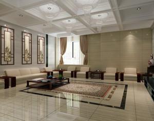 2016精致的别墅型中式客厅装修效果图
