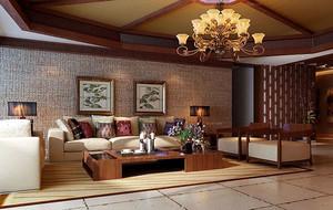 现代东南亚风格时尚混搭客厅装修效果图