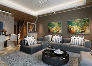 120平米三居室时尚混搭客厅装修效果图