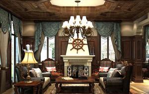 美式风格大户型客厅电视背景墙装修效果图实例