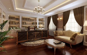 2016欧式风格书房室内设计装修效果图