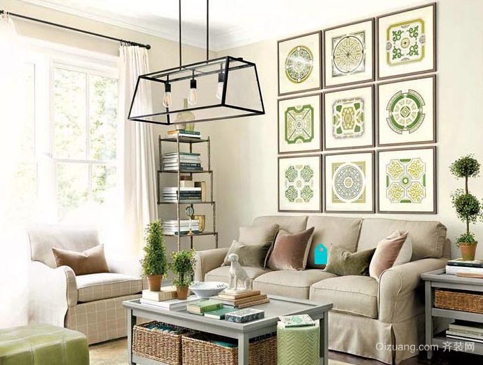 现代简约自然舒适客厅背景墙装修效果图
