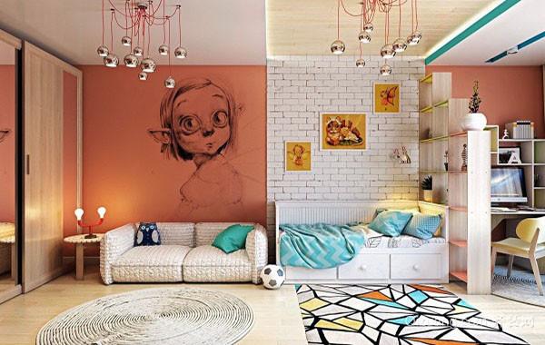 时尚可爱创意儿童房背景墙装修效果图大全