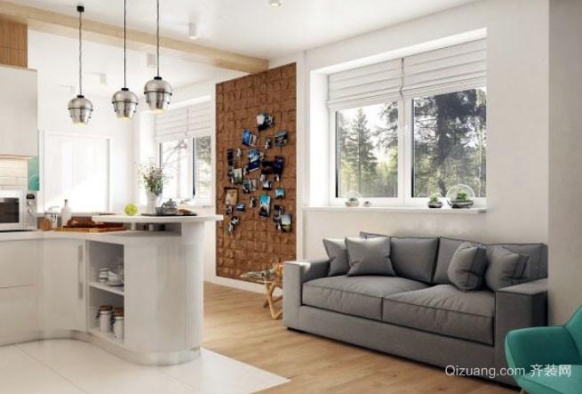 单身公寓时尚简约风格开放式厨房装修效果图