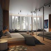 单身公寓时尚简约中冷色调卧室装修效果图