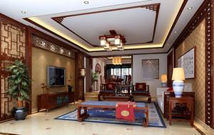 中式简约时尚客厅电视背景墙装修效果图