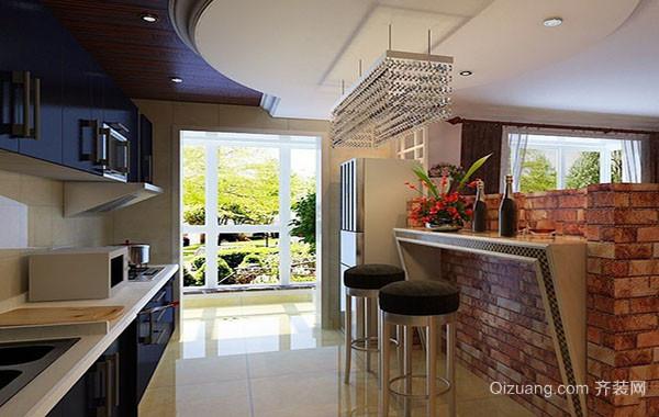 别墅型复式小楼现代简约时尚吧台装修效果图