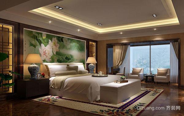 现代中式风格大户型精致卧室装修效果图