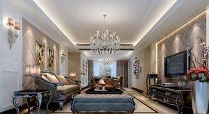 典雅时尚欧式风格客厅电视背景墙装修效果图