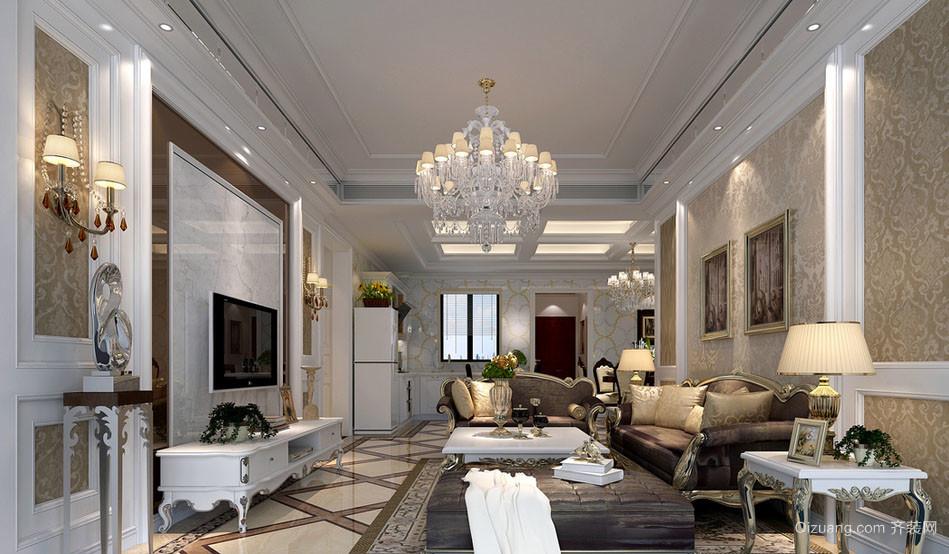 简欧风格大户型简约时尚客厅电视背景墙装修效果图
