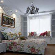 现代田园风格卧室整体效果图