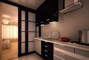 现代厨房大户型不锈钢橱柜装修效果图实例