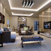 别墅型欧式客厅室内装修效果图实例