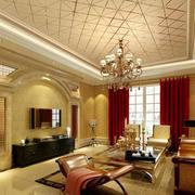 2016别墅型欧式客厅室内窗帘装修效果图