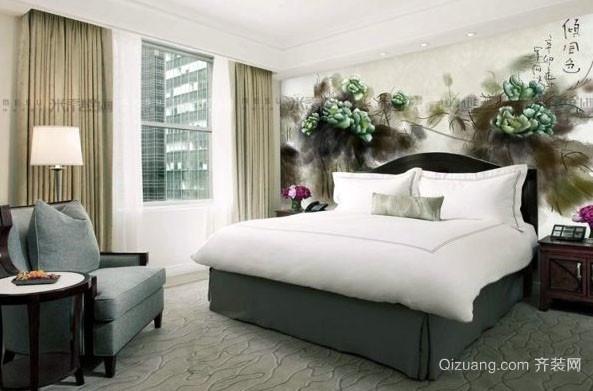 现代简约时尚卧室背景墙装修效果图