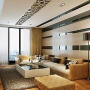 现代简约大户型沙发背景墙装修效果图
