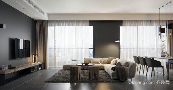 灰色空间时尚简约客厅装修效果图
