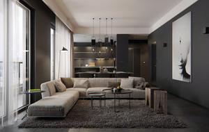 暗黑色调单身公寓装修效果图大全