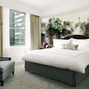 现代风格遇上中式水墨画卧室装修效果图