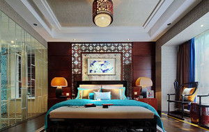 中式风格卧室背景墙