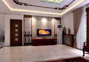 大户型中式室内客厅背景墙设计装修效果图