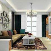 90平米简欧复古客厅设计室内装修效果图