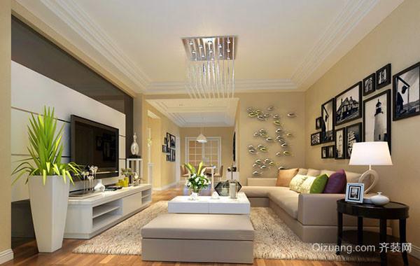 100平米现代简约自然精致客厅装修效果图