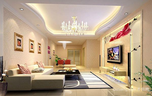现代简约风格大户型客厅电视背景墙效果图
