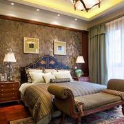 精致美式风格卧室背景墙