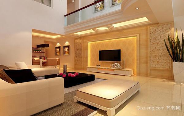 时尚别墅客厅电视背景墙装修效果图实例