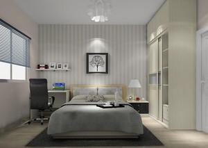 两居室现代简约风格卧室背景墙效果图