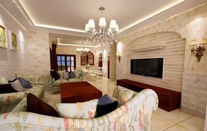 欧式田园风格自然舒适客厅装修效果图